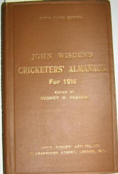 1916 Hardback Wisden, The rarest 20th Century book